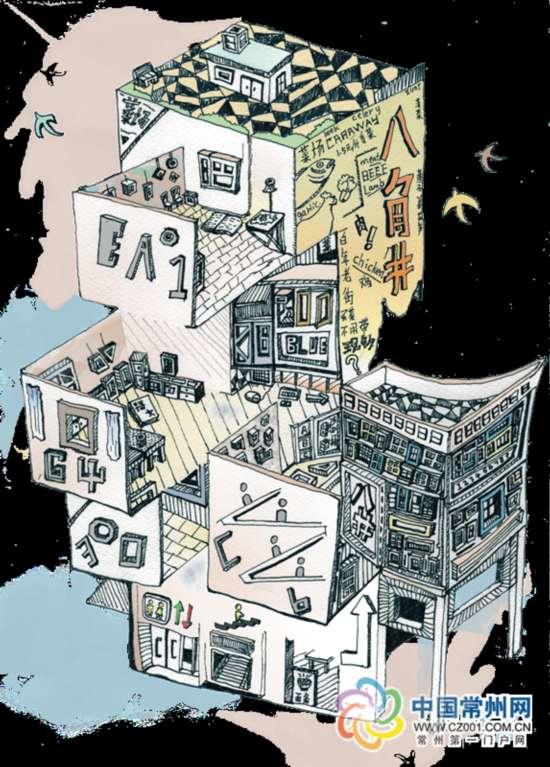 上海建筑手绘插画